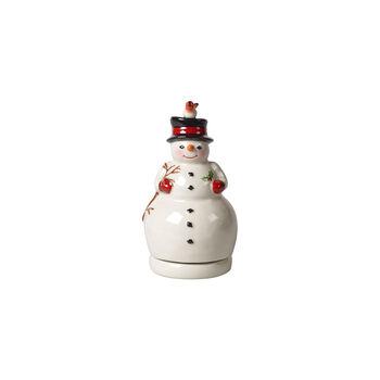 Nostalgico Melody pupazzo di neve rotante, bianco, 9 x 9 x 17 cm