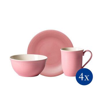 Color Loop Rose set da colazione, rosa, 12 pezzi