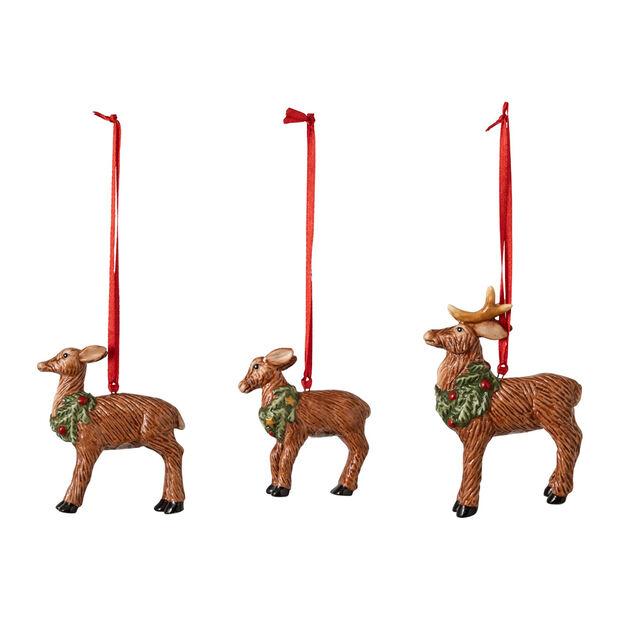 Nostalgic Ornaments set di addobbi famiglia di cervi, 7 x 6 cm, 3 pezzi, , large