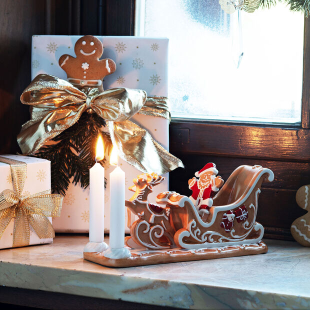 Winter Bakery Decoration slitta di pan di zenzero, marrone/bianco, 23 x 8 x 10 cm, , large