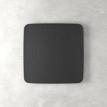 Manufacture Rock fuente para servir y plato gourmet cuadrado, negro/gris, 32,5 x 32,5 x 1,5 cm