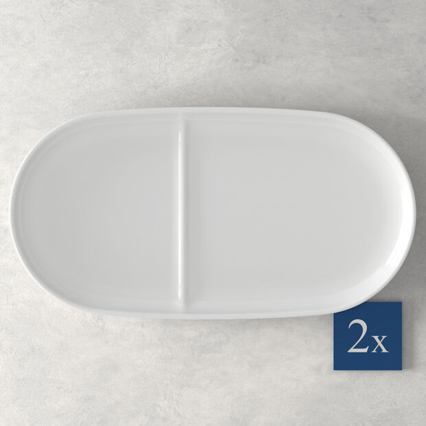 Soup Passion Vassoio di ceramica Set 2 pezzi 33x16cm, , large