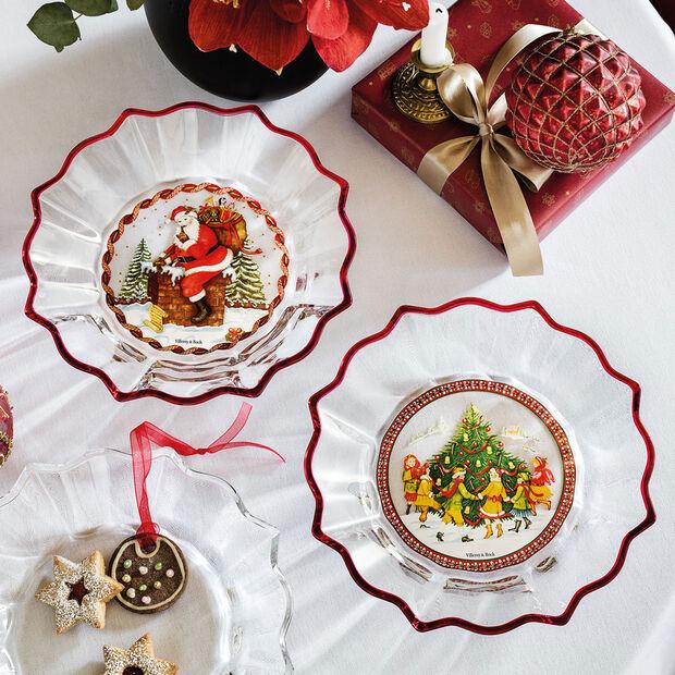 Christmas Glass Accessories ciotola Babbo Natale sul tetto, trasparente/multicolore, 25 cm, 850 ml, , large