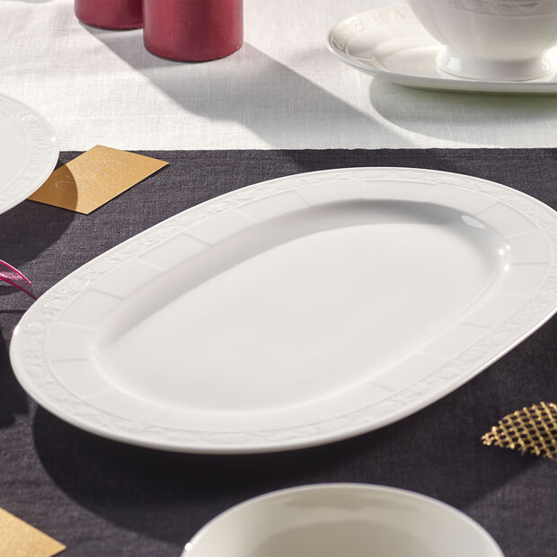 White Pearl piatto ovale 35cm, , large