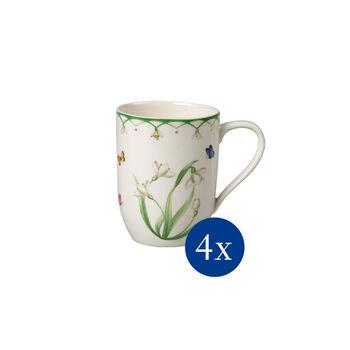 Colourful Spring taza grande de café, flores, 340 ml, 4 unidades