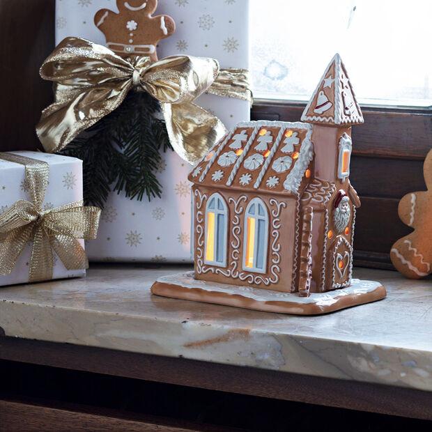 Winter Bakery Decoration chiesa di pan di zenzero, marrone/bianco, 17 x 13 x 20 cm, , large