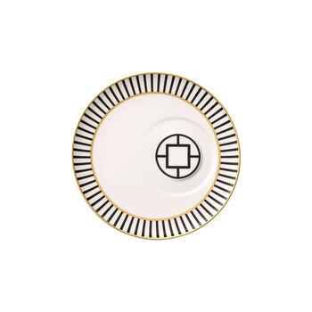 MetroChic piattino per tazza da tè, diametro 18,5 cm, bianco-nero-oro