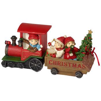 Winter Collage Accessoires Trenino natalizio con bambini 29x8x13,5cm