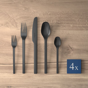 Manufacture Rock posate da tavola, per 4 persone, 20 pezzi, nero