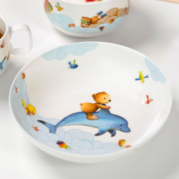 Happy as a Bear Piatto fondo bambini 18,5x18,5x4,5cm, , large