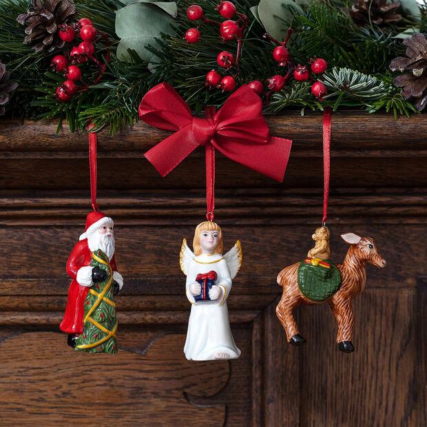 Nostalgic Ornaments set de ornamentos de Papá Noel, el Niño Jesús y corzos, 8 x 4 cm, 3 artículos, , large