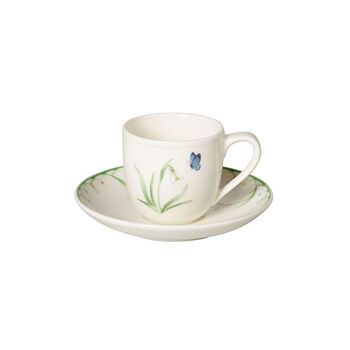 Colourful Spring taza para expreso con platillo, blanco/verde