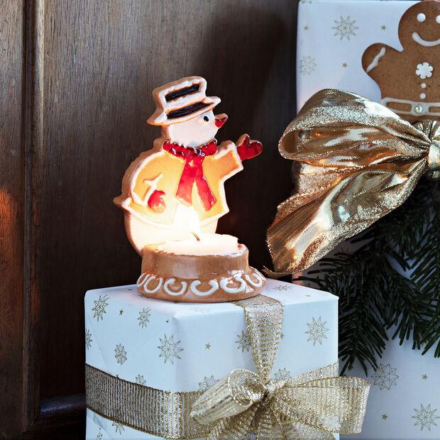 Winter Bakery Decoration muñeco de nieve de pan de jengibre, marrón/blanco, 7 x 7 x 11cm, , large