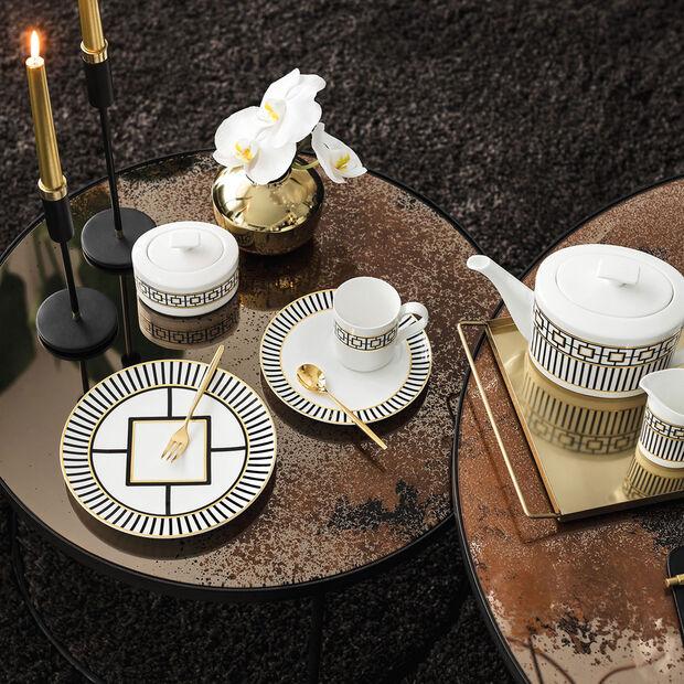 MetroChic piatto da dessert e da colazione, bianco-nero-oro, , large