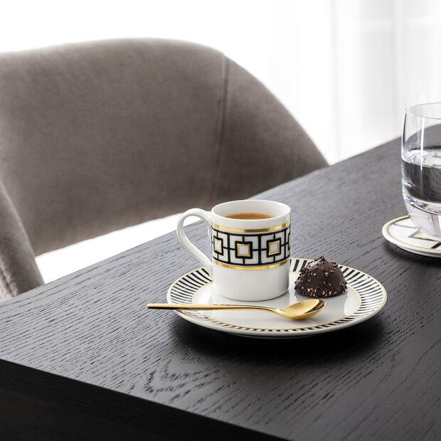 MetroChic tazza da moka e da espresso, 80 ml, bianco-nero-oro, , large