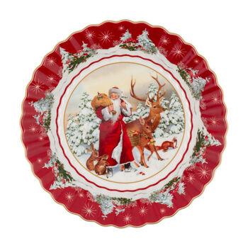 Toy's Fantasy ciotola grande Babbo Natale con animali del bosco, multicolore/rossa/bianca, 25 x 25 x 5 cm