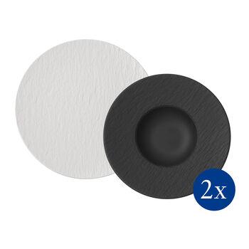 Manufacture Rock set da pasta, 4 pezzi, per 2 persone, bianco/nero