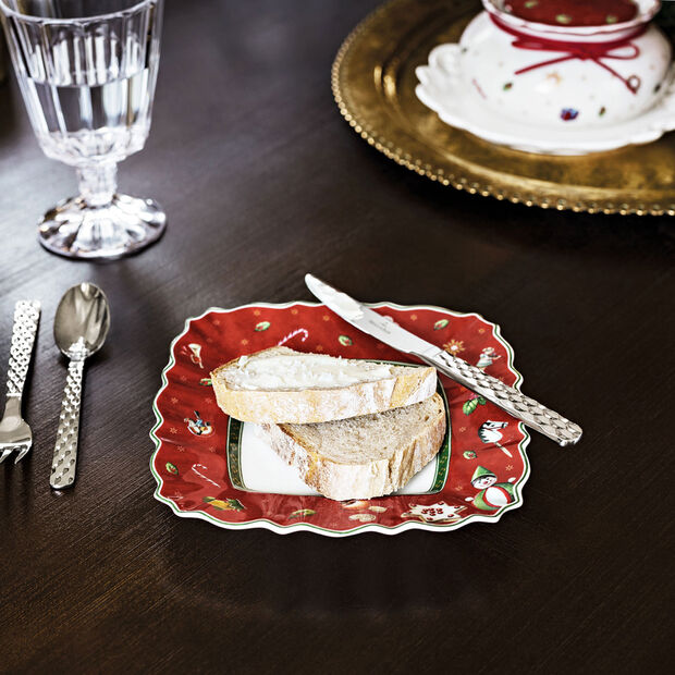 Toy's Delight plato rectangular para pan, rojo/varios colores, 17 x 17cm, , large
