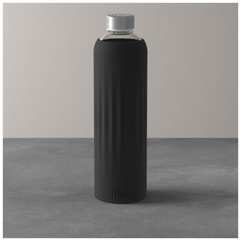 ToGo&ToStay borraccia in vetro, 1l, con rivestimento in silicone, nero