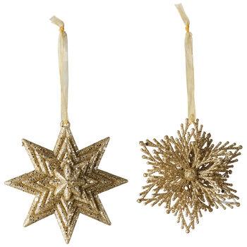 Christmas Decoration Deco da app stella/fiocco neve set da 2 10cm