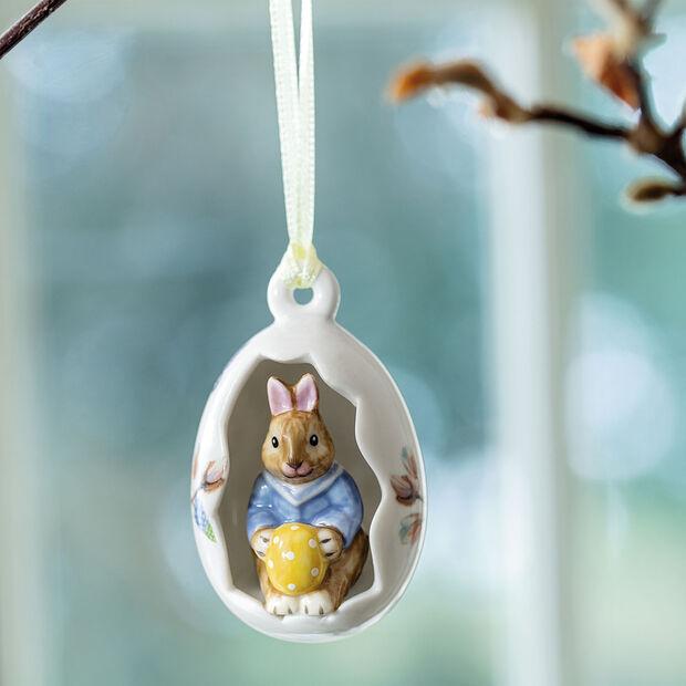 Bunny Tales uovo decorativo Max, fiori blu, 7 cm, , large