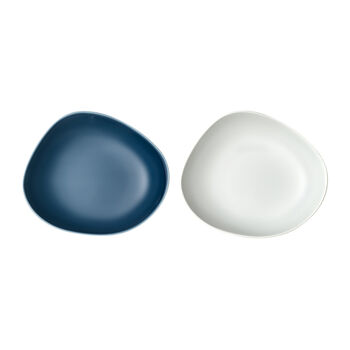 Organic Turquoise piatto fondo, 2 pezzi, turchese/bianco