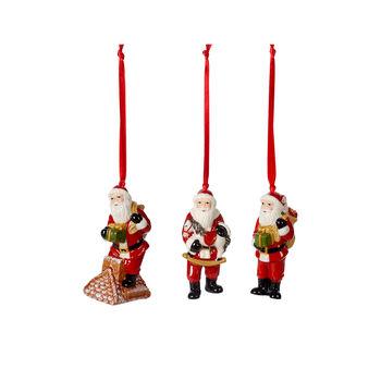 Nostalgic Ornaments set de ornamentos de Papá Noel, varios colores, 3 piezas, 9 cm