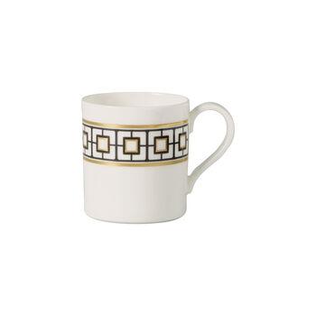 MetroChic taza de café, 210 ml, blanco, negro y oro