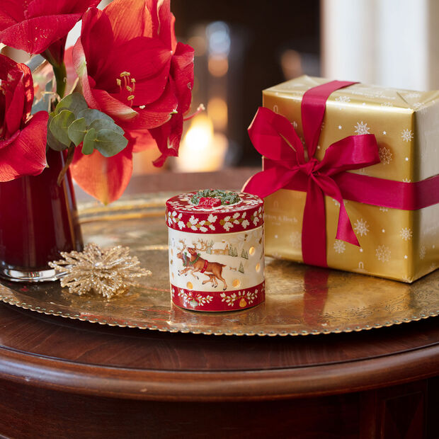 Christmas Toys Pacchetto regalo piccolo rotondo, renna 9,5x9,5x10cm, , large