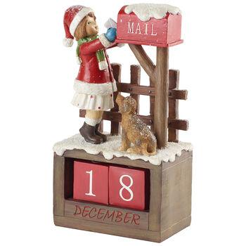 Winter Collage Accessoires Calendario con niña 12,5x8x22,5cm