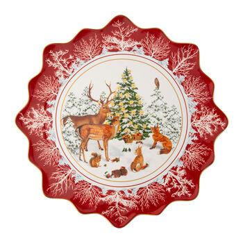 Toy's Fantasy piatto da pasticcini grande animali del bosco, multicolore/rosso/bianco, 42 x 42 x 2 cm