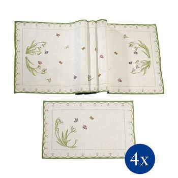 Colourful Spring Set de mantelería, Galanthus, 5 piezas