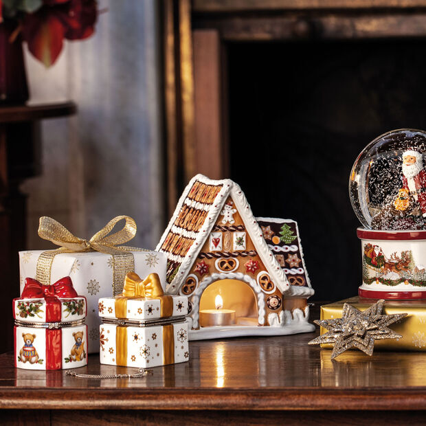 Christmas Toy's figura de paquete de regalo rectangular, oro/blanco, 7 x 6 x 9cm, , large