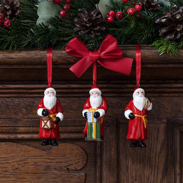 Nostalgic Ornaments set di addobbi Babbo Natale, 8 x 3,5 cm, 3 pezzi, , large