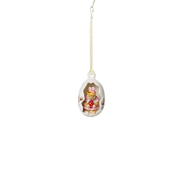 Bunny Tales Huevo de adorno Anna, flores rosas 4,5x4,5x7cm, , large