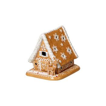 Winter Bakery Decoration casa de pan de jengibre, marrón/blanco, 15 x 13 x 14 cm