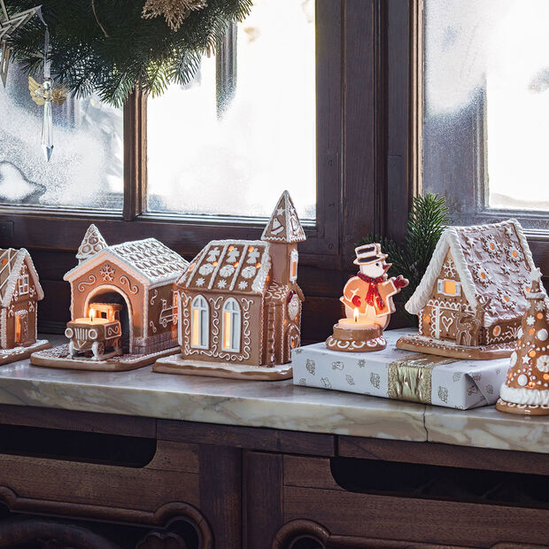 Winter Bakery Decoration casetta di pan di zenzero, marrone/bianco, 15 x 13 x 14 cm, , large