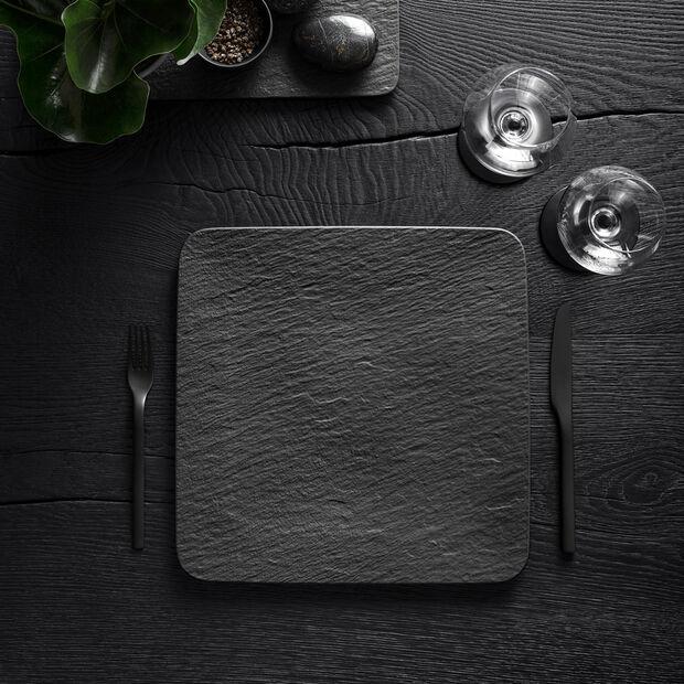 Manufacture Rock fuente para servir y plato gourmet cuadrado, negro/gris, 32,5 x 32,5 x 1,5 cm, , large