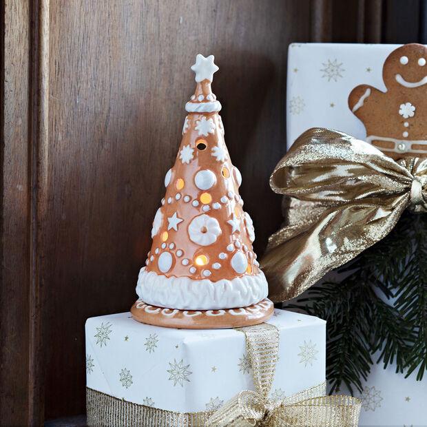 Winter Bakery Decoration árbol pequeño de pan de jengibre, marrón/blanco, 8 x 8 x 15cm, , large