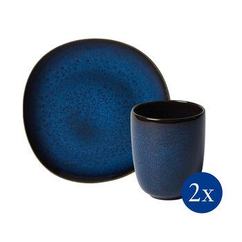Lave set da colazione, 4 pezzi, per 2 persone, blu