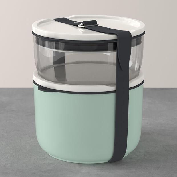 ToGo&ToStay set porta pranzo, 2 pezzi, vetro, grigio/verde menta, , large