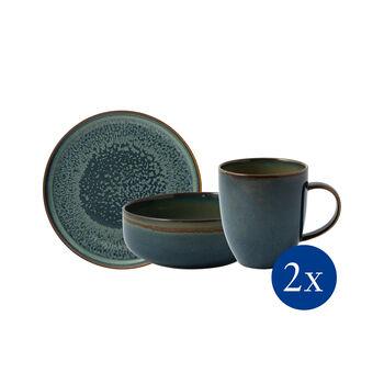 Crafted Breeze set da colazione, grigio-blu, 6 pezzi