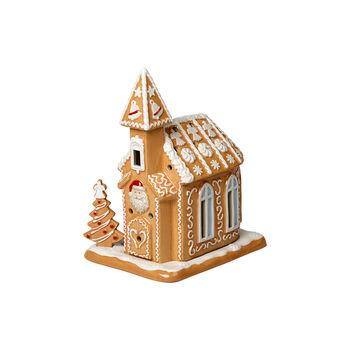 Winter Bakery Decoration iglesia de pan de jengibre, marrón/blanco, 17 x 13 x 20cm