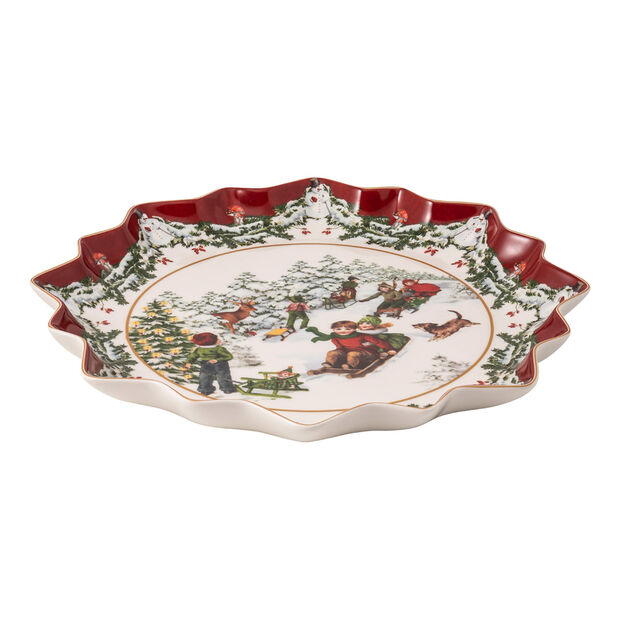 Toy's Fantasy plato hondo para repostería con motivo de paseo en trineo, rojo/varios colores/blanco, 39 x 39 x 3,5 cm, , large