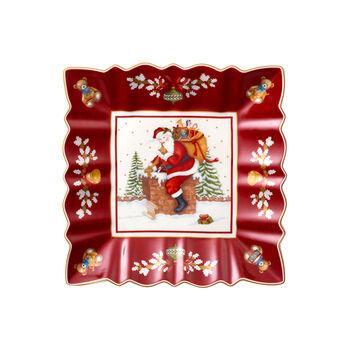 Toy's Fantasy ciotola rettangolare motivo Babbo Natale sul tetto, rosso/variopinto, 23 x 23 x 3,5 cm