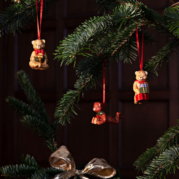 Nostalgic Ornaments set de ornamentos con motivo de osito de peluche, varios colores, 3 piezas, 9,5cm, , large
