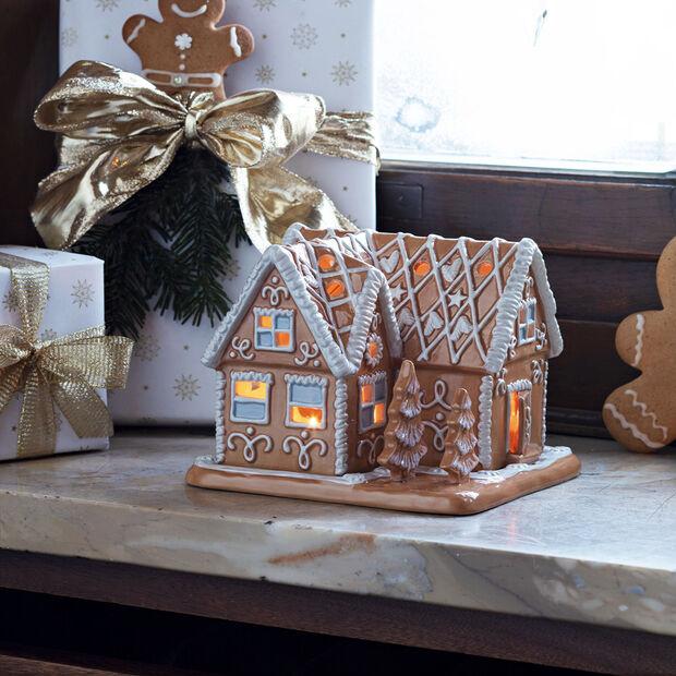 Winter Bakery Decoration villa di pan di zenzero, marrone/bianco, 16 x 16 x 13 cm, , large