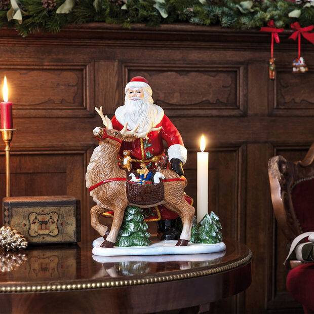 Christmas Toys Memory figura de Papá Noel con ciervo, 30 x 24 x 35 cm, , large