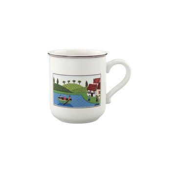 Design Naif taza grande de café con motivo de barca