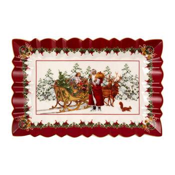Toy's Fantasy piatto da torta rettangolare motivo Babbo Natale con slitta, multicolore/rosso/bianco, 35 x 23 x 3,5 cm